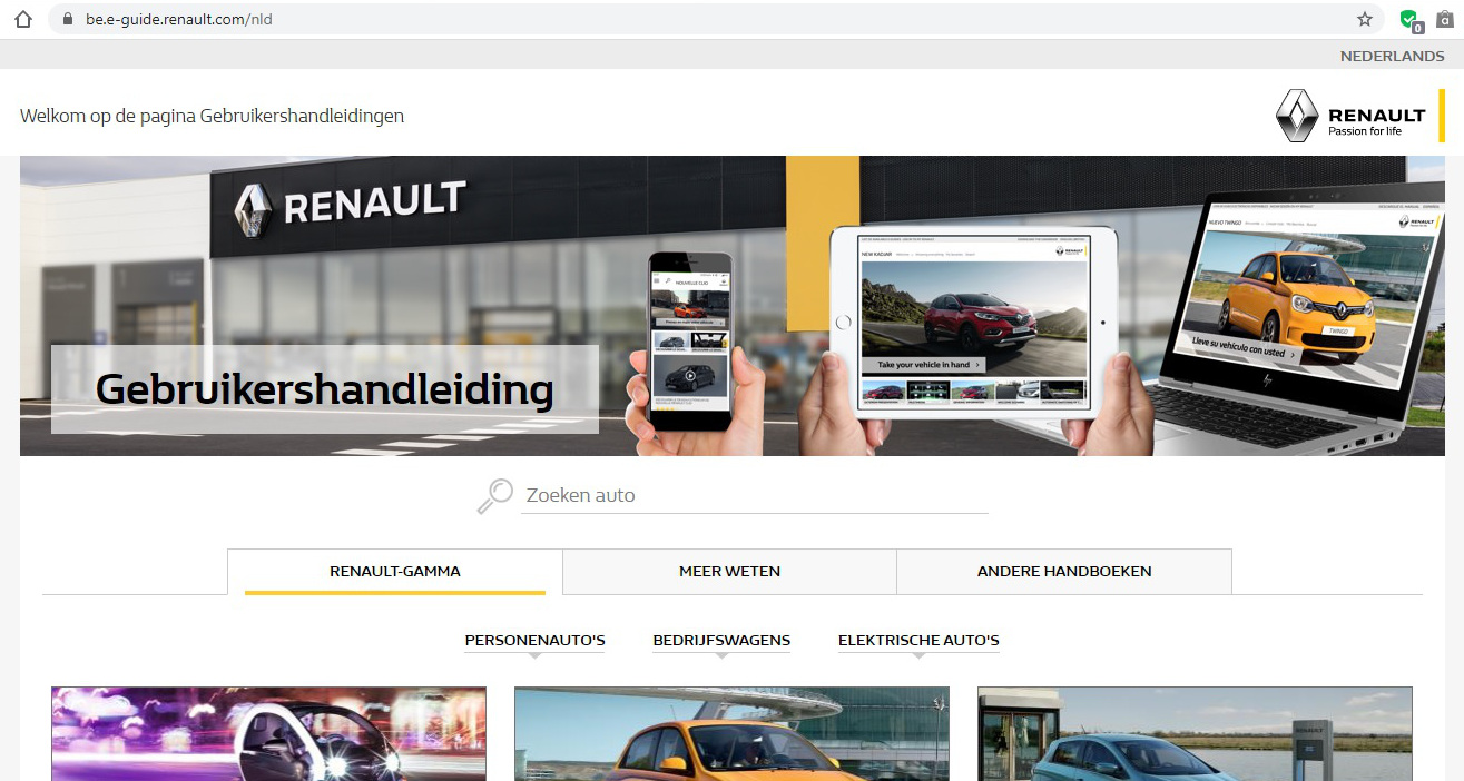 Screenshot website E-Guide Renault