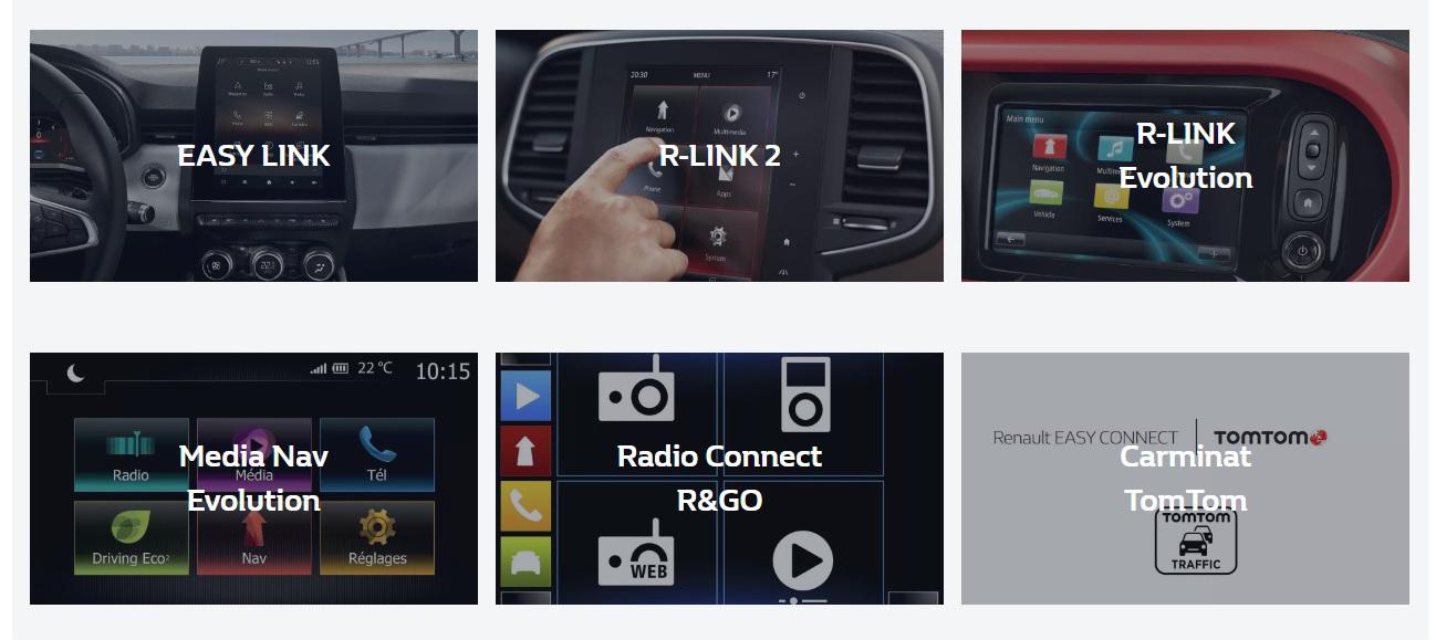 Verschillende multimediasystemen Renault